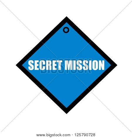 Secret Mission white wording on quadrate blue background