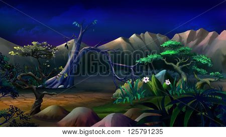 African Savannah in a summer night with lonely tree and mountains on background.