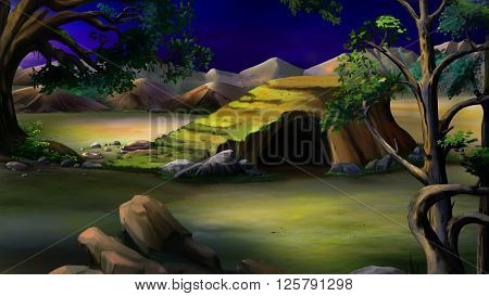 African Savannah at night with stone rock and acacia tree. Panorama.