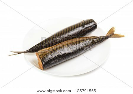 Hot smoked mackerel on plate isolated on a white background