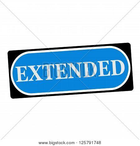 extended white wording on blue background black frame