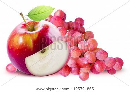 Green Apple and red grape on white background. Grape and apple with clipping path. Red apple with leave. Red apple with slice. Red grape and red apple composition. Grape and apple clipping path.