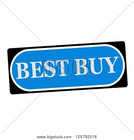 best buy white wording on blue background black frame