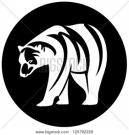 polar bear (Ursus maritimus) black and white vector design
