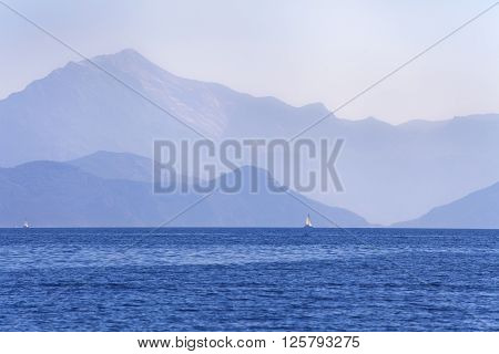 View of mountains in Turkey from the sea