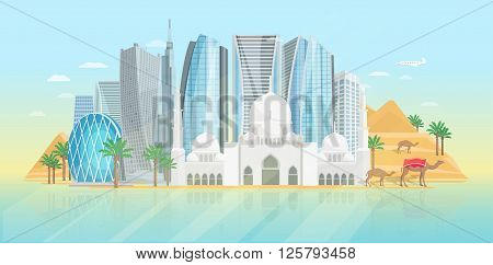 United arab emirates poster with view at mosque and modern buildings on blue background vector illustration