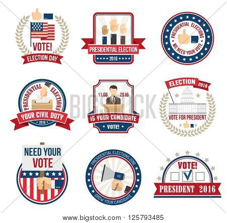 Color labels and emblems for agitating people vote in presidential election in 2016 isolated vector illustration