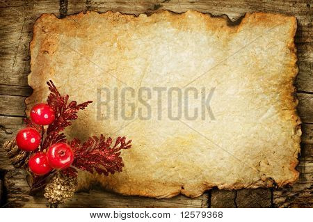 Christmas decorations on the Old Paper.With copyspace