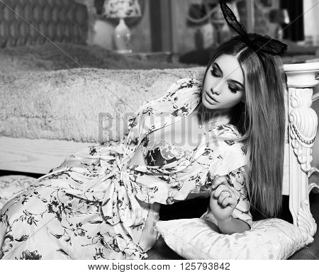 Girl With Blond Hair With Bunny Ears Headband, Posing In Bedroom