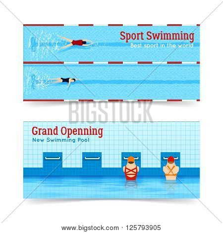 Two horizontal banners set of best sport swimming and grand openning of new swimming pool isolated flat vector illustration