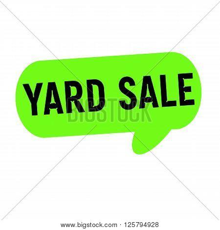 yard sale wording on Speech bubbles green cylinder