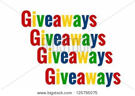 The word giveaways multicolored tiled. Great for bloggers and businesses