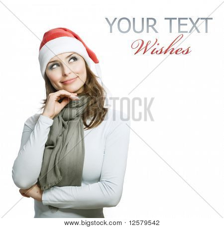 Beautiful Young Happy Christmas Woman over white