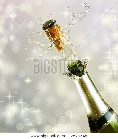 Champagne explosion.Celebrating concept