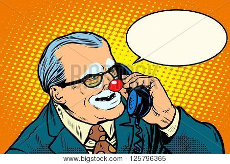 boss clown on the phone pop art retro style. Evil boss. Circus and business. Makeup