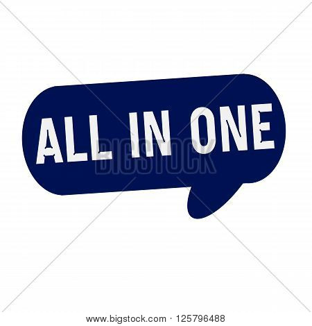 ALL-IN-ONE wording on Speech bubbles blue cylinder