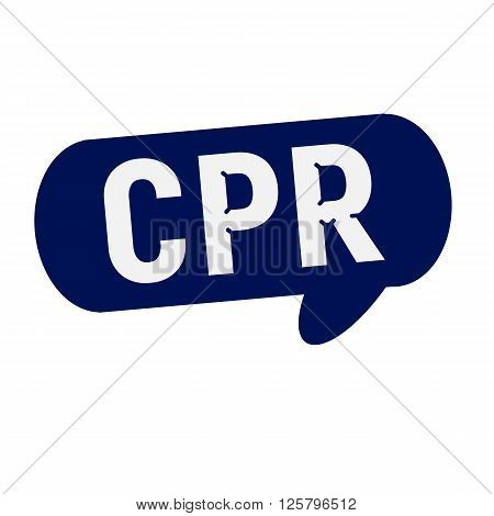 CPR wording on Speech bubbles blue cylinder