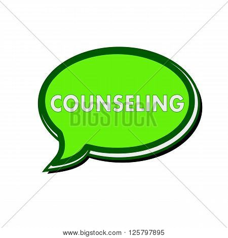 COUNSELING white wording on green Speech bubbles