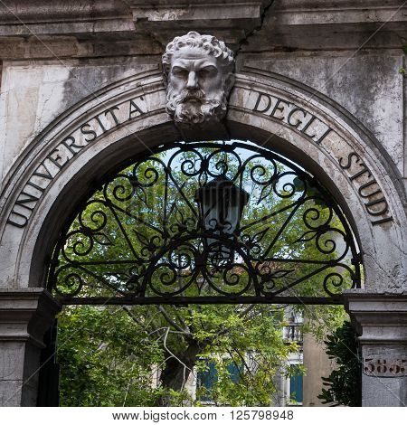 Marble Archway University Entrance With Wrought Iron Element
