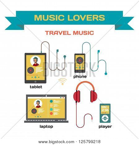 Music system for music listening with gadgets vector flat design. Use of traveling laptop, smartphone, tablet and player with headphones. Music for travel and for music lovers
