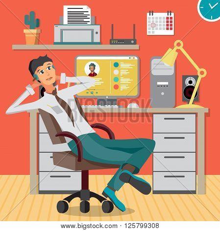 Vector modern flat design businessman wearing headphones listening music. Cartoon character of music lover enjoying his favorite track. Music lover businessman listening to music in office