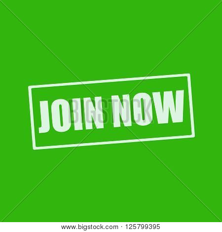 Join now white wording on rectangle green background