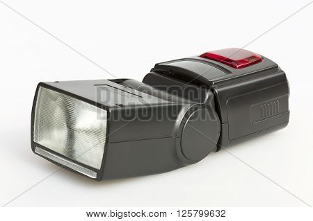 External flash for the camera on white background