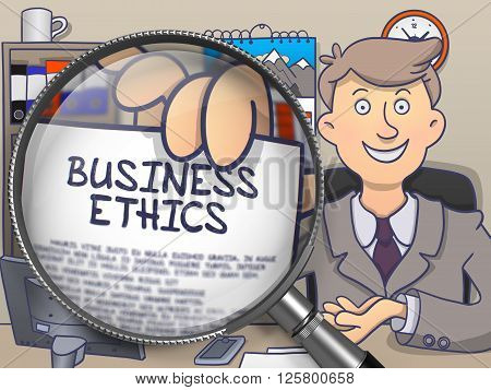 Business Ethics. Paper with Text in Businessman's Hand through Magnifier. Colored Modern Line Illustration in Doodle Style.