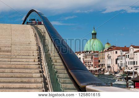 Costituzione Bridge And Dome Of San Simeon Piccolo's Church In Venice, Italy