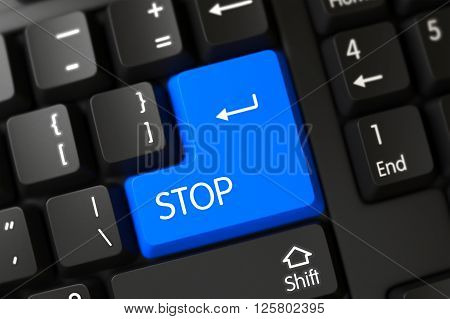 Stop Close Up of Computer Keyboard on a Modern Laptop. Stop Key on Computer Keyboard. Stop Concept: PC Keyboard with Stop, Selected Focus on Blue Enter Keypad. 3D Render.