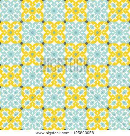 Floor tiles - seamless vintage pattern with cement tiles. Yellow and mint green colors. Seamless vector background. Vector illustration.