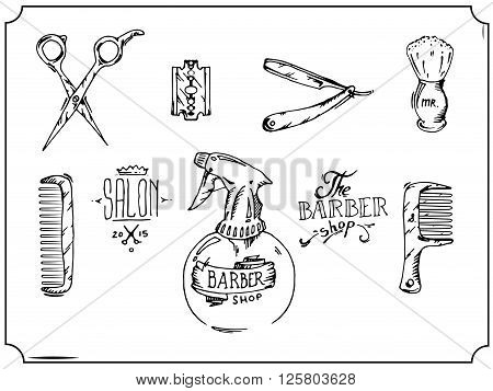 Vintage tools of barber shop. Black and white hand drawn vector stock illustration