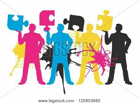 Four stylized Male silhouettes with puzzle. Concept for presenting of color printing. Vector available.