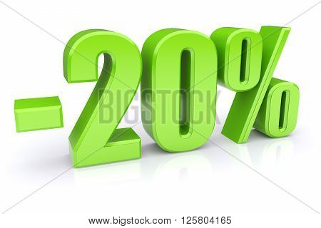 20% discount icon on a white background. 3d rendered image