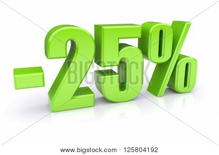 25% discount icon on a white background. 3d rendered image