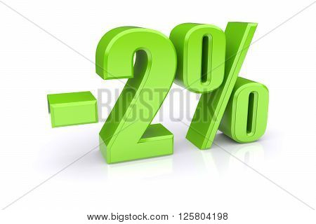 Green 2% percentage rate icon on a white background. 3d rendered image