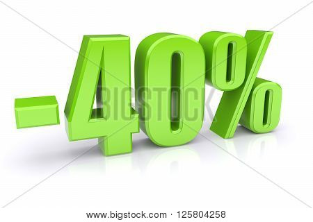 40% discount icon on a white background. 3d rendered image