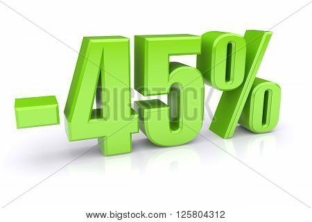 45% discount icon on a white background. 3d rendered image
