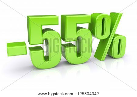 55% discount icon on a white background. 3d rendered image