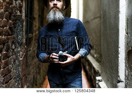 Man Hipster Journey Lifestyle Traveling Concept