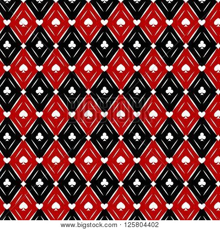 Seamless casino  poker background with red, black, white cards symbols
