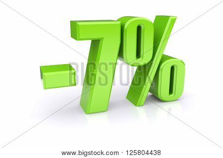 Green 7% percentage rate icon on a white background. 3d rendered image