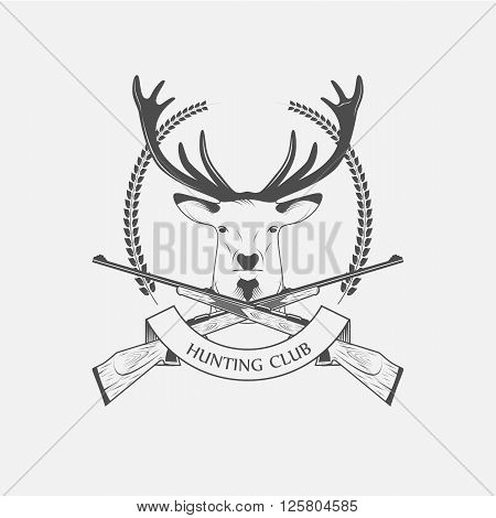 Hunting Club icon with a rifle and a deer - vector illustration