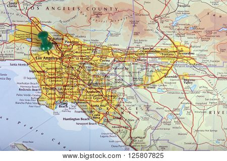 the hague Netherlands-april 9 2016: Map of Los Angeles in the United States of America with pushpin illustrative editorial