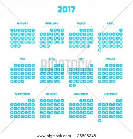 Calendar for year 2017. Four months in three rows. Weeks start on monday. White numbers in blue squares with rounded corners on white background.