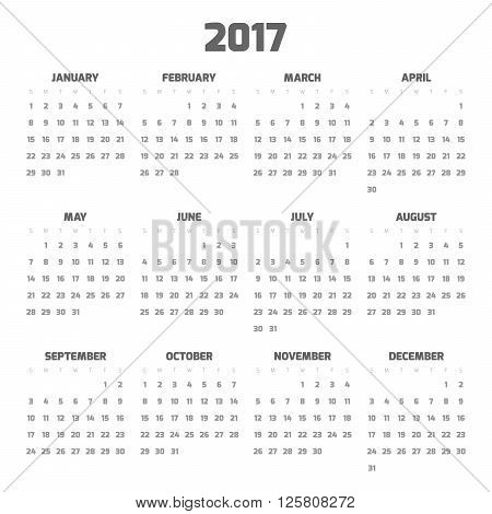 Calendar for year 2017. Four months in three rows. Weeks start on monday. Black numbers and red text on white background.