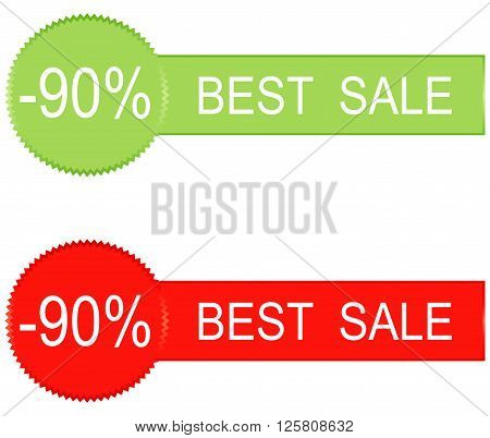 Sale tags with Sale 90 percent text on sticker tags