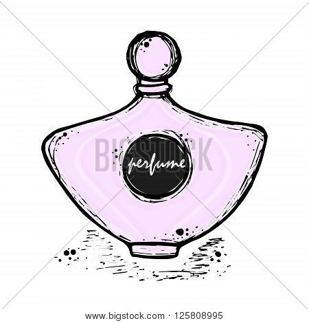 A bottle of perfume for girls women. Fashion and beauty trend aroma. Vector hand-drawn sketch illustration. Isolated object.