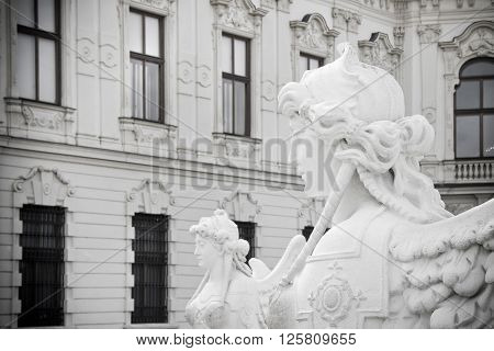 Sphinx in the park of Belvedere Palace in Vienna; Austria. (Statue more than a century)