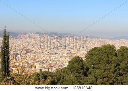 Barcelona Cityscape Panorama Seen From Montjuic, Spain